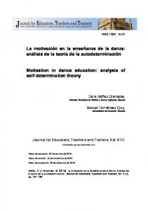 La motivación en la enseñanza de la danza: análisis de la teoría de la autodeterminación