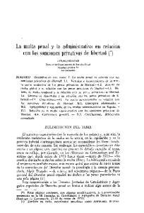 La multa penal y la administrativa en relacion con las sanciones privativas de l1bertad (*)