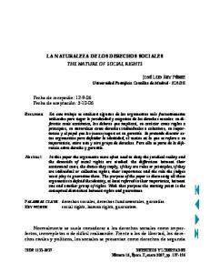 LA NATURALEZA DE LOS DERECHOS SOCIALES THE NATURE OF SOCIAL RIGHTS