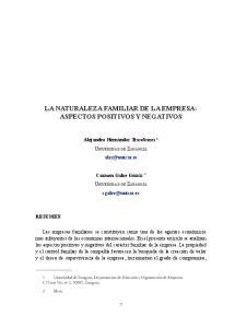 LA NATURALEZA FAMILIAR DE LA EMPRESA: ASPECTOS POSITIVOS Y NEGATIVOS