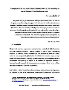 LA NECESIDAD DE UNA ESTRATEGIA ALTERNATIVA DE DESARROLLO EN EL PENSAMIENTO DE CELSO FURTADO