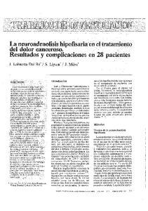 La neuroadenolisis hipofisaria en el tratamiento del dolor canceroso. Resultados y complicaciones en 28 pacientes