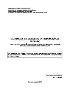 LA NORMA DE DERECHO INTERNACIONAL PRIVADO