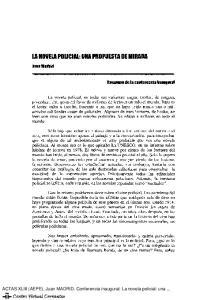 la NOVElA POLICIAl: UNA PROPUESTA DE MIRADA