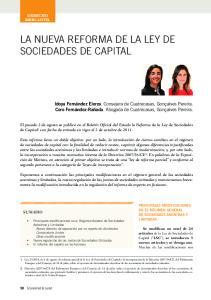 la nueva reforma de la ley de sociedades de capital