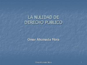 LA NULIDAD DE DERECHO PUBLICO