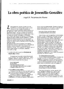 La obra poetica de Josemilio Gonzalez no se ha