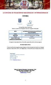 LA OFICINA DE RELACIONES NACIONALES E INTERNACIONALES