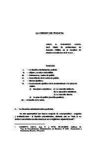 LA ORDEN DE POLICIA SUMARIO: