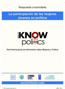 La participación de las mujeres. jóvenes en política La participación de las mujeres jóvenes en política