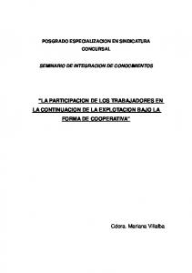 LA PARTICIPACION DE LOS TRABAJADORES EN LA CONTINUACION DE LA EXPLOTACION BAJO LA FORMA DE COOPERATIVA