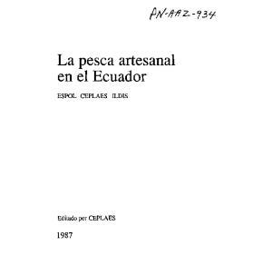 La pesca artesanal ESPOL CEPLAES ILDIS. Editado por CEPLAES