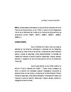 La Plata, 14 de junio de 2013