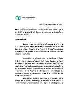 La Plata, 14 de septiembre de 2016