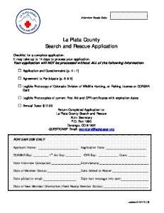 La Plata County Search and Rescue Application