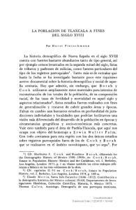 LA POBLACION DE TLAXCALA A FINES DEL SIGLO XVIII