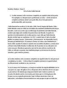 La Poeta: Pablo Neruda