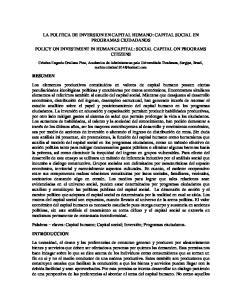 LA POLITICA DE INVERSION EN CAPITAL HUMANO: CAPITAL SOCIAL EN PROGRAMAS CIUDADANOS