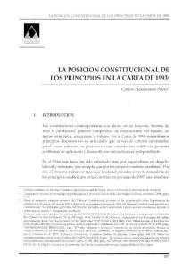 LA POSICION CONSTITUCIONAL DE LOS PRINCIPIOS EN LA CARTA DE :
