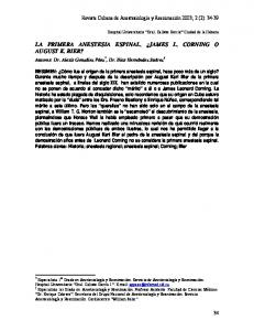 LA PRIMERA ANESTESIA ESPINAL. JAMES L. CORNING O AUGUST K. BIER?