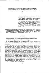 LA PROBLEMÁTICA CONTEMPORÁNEA DE LA PAZ. LA CUESTIÓN DE LA INVESTIGACIÓN DE LA PAZ 1 (I)