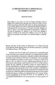 LA PROMOCION DE LA DEMOCRACIA EN AMERlCALATINA*