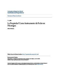 La Propiedad Como Instrumento de Poder en Nicaragua