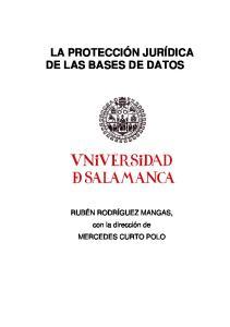 LA PROTECCIÓN JURÍDICA DE LAS BASES DE DATOS. RUBÉN RODRÍGUEZ MANGAS, con la dirección de MERCEDES CURTO POLO