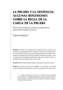 LA PRUEBA Y LA SENTENCIA: ALGUNAS REFLEXIONES SOBRE LA REGLA DE LA CARGA DE LA PRUEBA