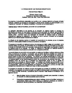 LA REDUCCION DE LOS RESIDUOS INDUSTRIALES. Antonetti Alvarez Miguel A