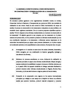 LA REFORMA CONSTITUCIONAL COMO INSTRUMENTO DE CONSTRUCCION Y CONSOLIDACION DE LA DEMOCRACIA