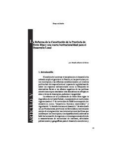 La Reforma de la Constitución de la Provincia de