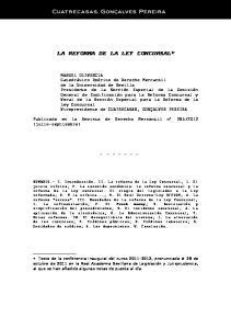 LA REFORMA DE LA LEY CONCURSAL*