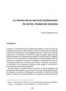 La reforma de los servicios profesionales de carrera: tendencias recientes