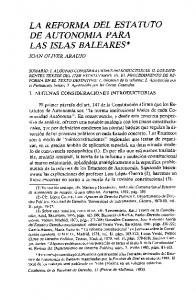 LA REFORMA DEL ESTATUTO DE AUTONOMIA PARA LAS ISLAS BALEARES*