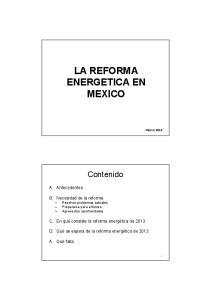 LA REFORMA ENERGETICA EN MEXICO