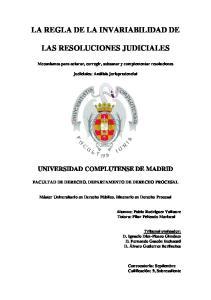 LA REGLA DE LA INVARIABILIDAD DE LAS RESOLUCIONES JUDICIALES