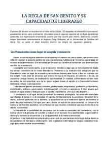 LA REGLA DE SAN BENITO Y SU CAPACIDAD DE LIDERAZGO