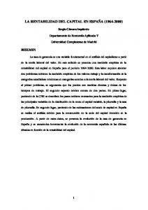LA RENTABILIDAD DEL CAPITAL EN ESPAÑA ( )