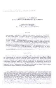 LA RESERVA DE PROPIEDAD: GARANTIA EFICAZ EN EL DERECHO CHILENO?