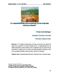 La responsabilidad socio-ambiental de las empresas mineras cubanas