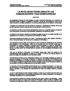 LA REVOLUCION TECNOLOGICA DE LAS COMUNICACIONES Y SUS CONSECUENCIAS