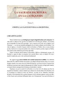 LA SAGRADA ESCRITURA EN LA CATEQUESIS