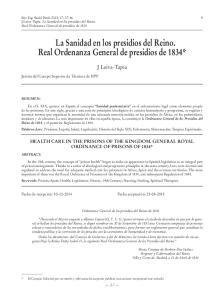 La Sanidad en los presidios del Reino. Real Ordenanza General de presidios de 1834*