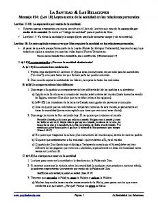 LA SANTIDAD & LAS RELACIONES Mensaje #24: (Lev 18) Leyes acerca de la santidad en las relaciones personales