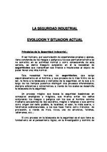 LA SEGURIDAD INDUSTRIAL EVOLUCION Y SITUACION ACTUAL