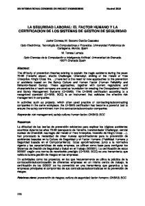 LA SEGURIDAD LABORAL: EL FACTOR HUMANO Y LA CERTIFICACION DE LOS SISTEMAS DE GESTION DE SEGURIDAD