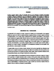 LA SEGURIDAD VIAL EN EL CONTEXTO DE LA CONVIVENCIA CIUDADANA