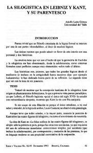 LA SILOGISTICA EN LEIBNIZ Y KANT, Y SU PARENTESCO