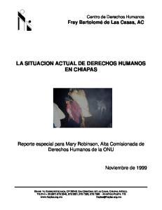 LA SITUACION ACTUAL DE DERECHOS HUMANOS EN CHIAPAS